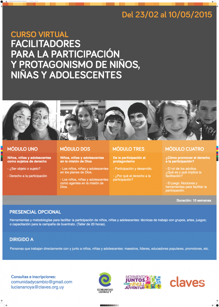 Afiche curso virtual Facilitadores para la participación y protagonismo de NNA